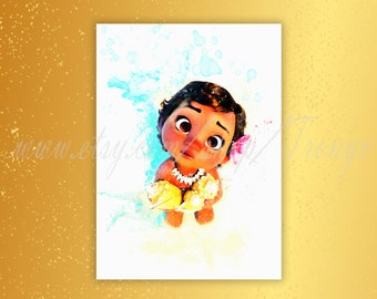 Little Moana Poster, Disney princess Moana watercolor print, South Pacific princess Moana, Girls room  decor idea, Nursery wall decor, T-108