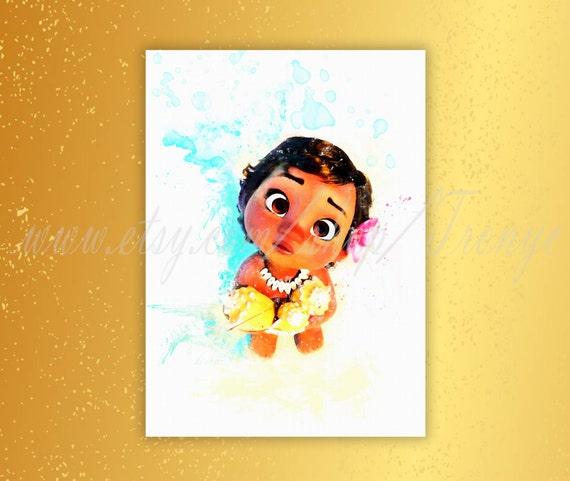 Little Moana Poster Disney Princess Moana Watercolor Print