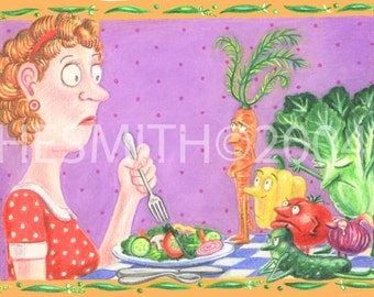 Vegetarian Guilt - Funny Greeting Card - Food Themed Card - Blank Card