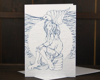 Mermaid Greeting Card - Sea Lady Illustration - Nautical Card - Sea Greeting Card - Eerie Greeting Card - Weird Creatures - Surrealistic Art