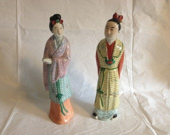 Vintage Chinese Polychrome Porcelain Couple Unmarked