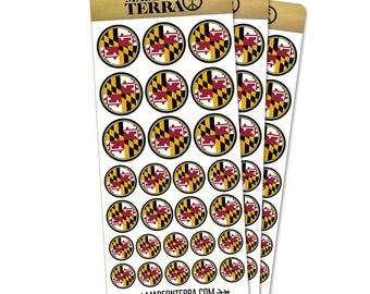 Maryland State Flag Removable Matte Sticker Sheets Set