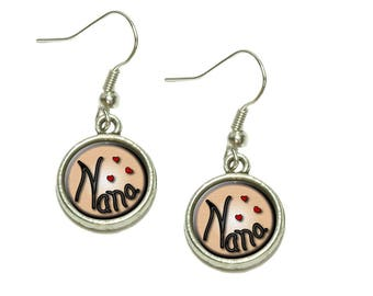Nana Love Hearts Dangling Drop Charm Earrings