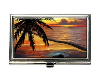 Ambient Beach Sunset Business Credit Card Holder Case