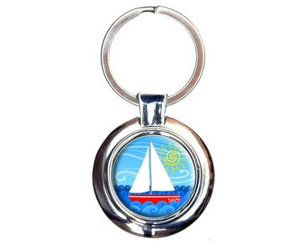 Sailboat On The Lake Keychain Key Ring
