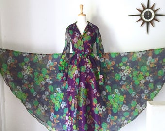 1970s hostess gown, semi sheer floral maxi dress