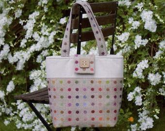 British tweed handbag, tote bag, daybag, spots