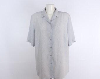 Vintage • Blouse • Shirt • Women's Blue Blouse • Women's Blouse • All Over Graphic Print Blouse • Women's Blue Shirt • Hipster • Classic