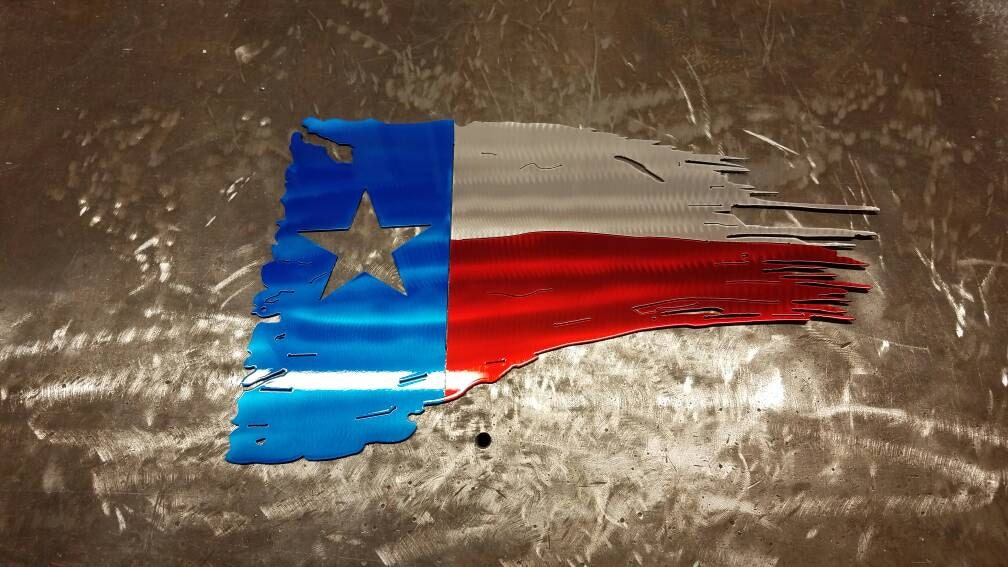 Texas Flag Tattered And Torn Metal Art Painted Like The Texas Flag Made From