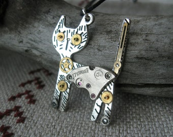 Cat jewelry Steampunk Cat necklace Cat pendant Watch pendant Watch necklace Watch Parts pendant Time necklace Steampunk animal Cat gift