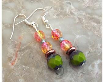 Picasso Olive Acorn Czech Bead Earrings, Dangle Earrings, Czech Bead Earrings, Beaded Earrings, Boho Earrings