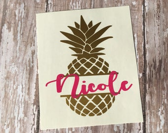 Pineapple Name Decal - Name Decal - Yeti Name Decal - Pineapple Decal - Monogram Decal - Laptop Decal -Water Bottle Decal - Car Window Decal
