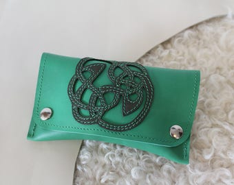 Celtic design and green leather tobacco pouch