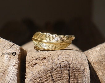 Golden feather Ring- 14K gold- solid gold ring- real gold- gold feather