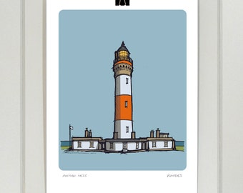 Buchan Ness Lighthouse A4 print | Day and Night | Scotland | Aberdeenshire | Illustration | Drawing