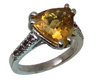 14k Citrine & Ruby Ring, FREE SIZING