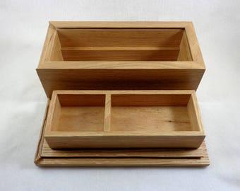 Wooden Box with Lid - Oak Box - Keepsake Box with Sliding Lid - Storage Box - Wedding Box - Jewelry Box - Ornamental Box - Wood Ink LLC