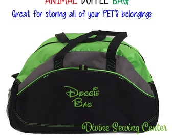 Personalized Duffel Bag for Pets. Animal Duffel Bags. Pet Carryall.  Pet Toy Storage. 5 Duffel Bag Colors.
