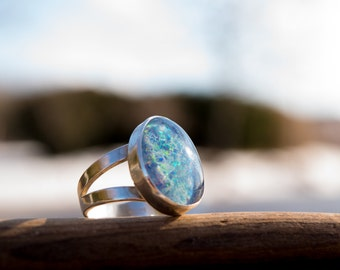 Bespoke Opal Triplet Silver Ring or Necklace
