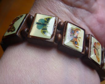 wooden bead bracelet, butterfly and moth bracelet