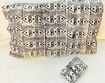 African pillow shams (2) - two standard pillow cases - black and white