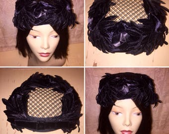 Vintage 1950s 1960s 50s 60s Black Ladies Half Hat Fascinator Cloche with Mesh Black Velvet Floral Trim Satin Ribbon Flowers Blooms