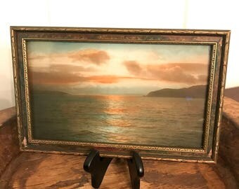 Vintage Sunrise or Sunset Reproduction 11 by 7 Inch Framed Print
