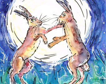 Hare Brush, two boxing hares, boxing hares card, hares greeting card, blank card, blue, yellow card, happy quirky card for any occasion.