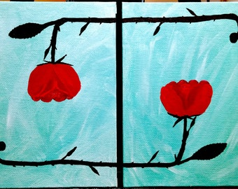 Roses in Symmetry - Acrylic Painting