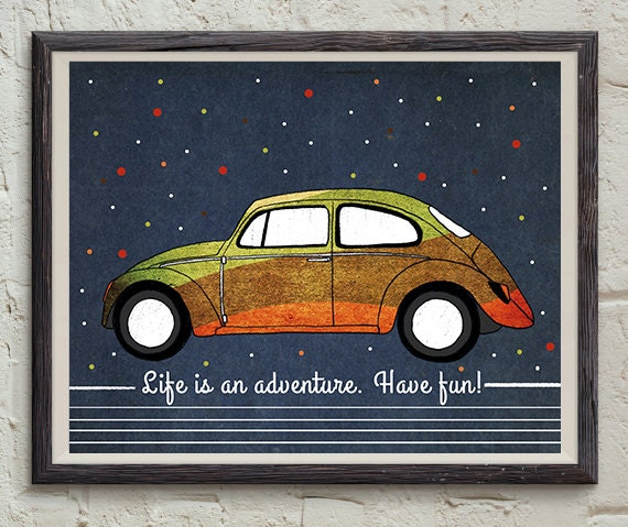 Vw Quote Fascinating Adventure Quote Vw Beetle Art Inspirational Home Decor