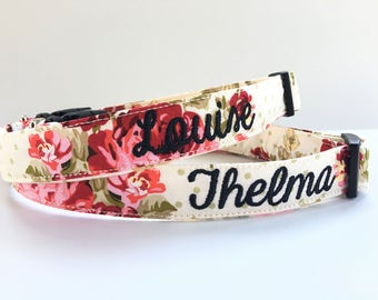 Dog Collar, Embroidered Dog Collar, Personalized Dog Collar, Flower print Dog Collar, Rose Collar, Personalized Collar, Dog mom