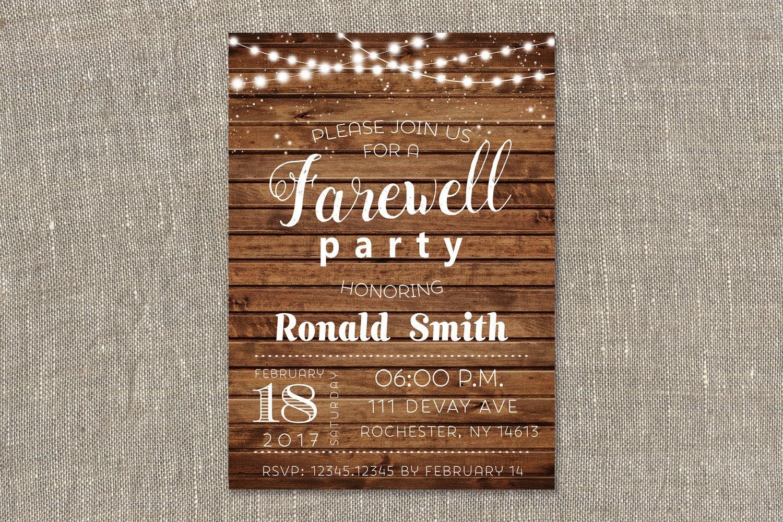 rustikale abschied einladung farewell party einladung, Einladung