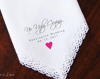 No Ugly Crying | Wedding Handkerchief | PRINTED | FREE Gift Cases!!! Wedding Hankerchief-Gifts-Favors-Hankerchief-Bridesmaid-Bride-Mothers