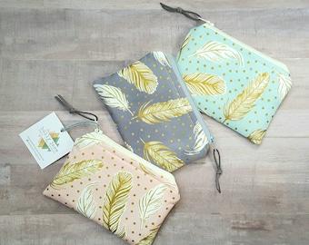 Essential Oil Storage, MINI oil bag, small oil bag, zippered oil case, essential oil travel pouch, 5 mL oil bag, feather print bag
