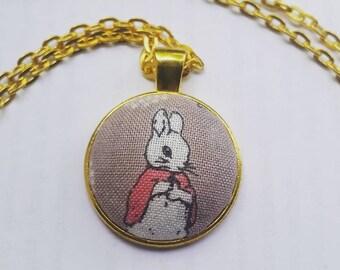 Beatrix Potter Fabric Pendant Necklace