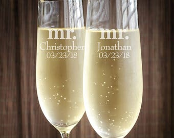 Mr. and Mr. Personalized Engraved Wedding Toasting Flutes - JM2532926