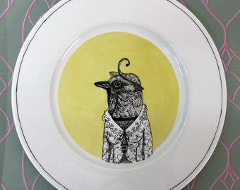 Hand painted porcelain collection plate  - swallow