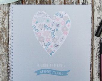 Personalised Heart Design Wedding Planner Notebook