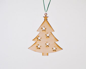 Laser Cut Wood Christmas Tree Ornament - Design #3 - 50% off
