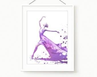 Ballet Watercolor Digital Art , Printable Ballet Dance , Ballerina printable Digital Download Art , Ballet Prints wall Decor for Girl Room