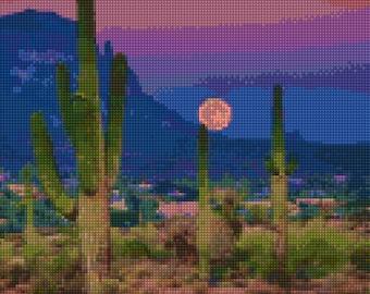 Arizona Desert Moon Sunset Cross Stitch pattern PDF - Instant Download!