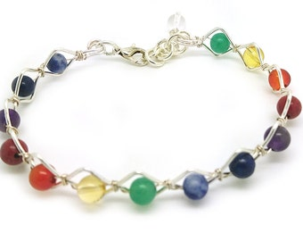 chakra, gemstone and wire bracelet