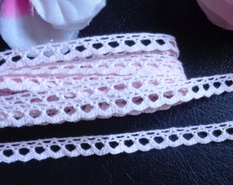 3/8 inch wide pink cotton lace trim ribbon selling by the yard