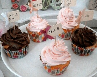 x10 We Do Wedding Cupcake Picks/Flags, Food Decoration
