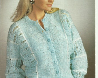 pdf Vintage Ladies Cardigan Knitting Pattern.