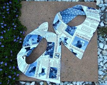Puppy News Reversible Pet Bandana, Newsprint Dog Bandana, Newspaper Scarf
