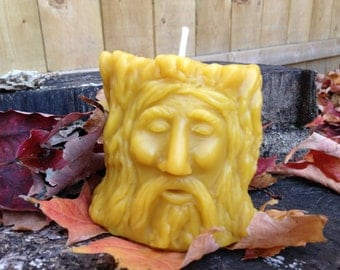 Pure, Natural Beeswax Pillar Candle.  Wood Spirit.