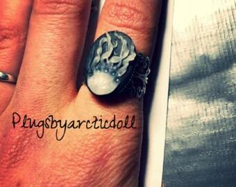 Handmade Medusa cameo ring
