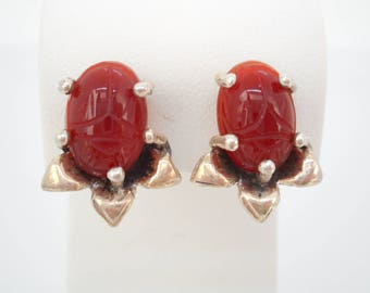 Antique Art Deco Jewelry Sterling Silver Scarab Earrings Egyptian Revival Circa 1922
