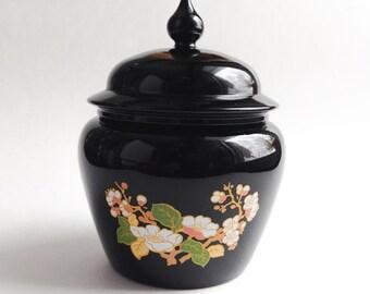 Vintage Avon ginger jar, Vintage black jar Avon, Avon collectible, Vintage Avon candy bowl, Vintage Avon collectible, Orange Rétro